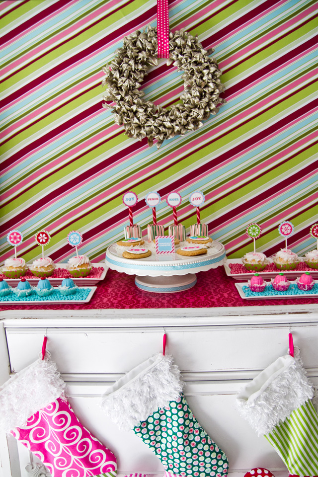 vintage christmas dessert table