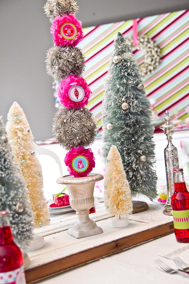 christmas party centerpiece with vintage trees