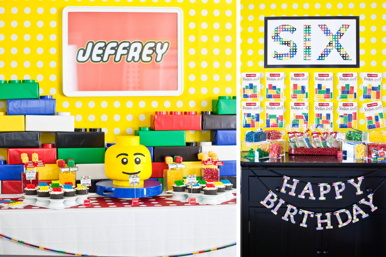 Lego Inspired Dessert Table and Candy Bar Detail
