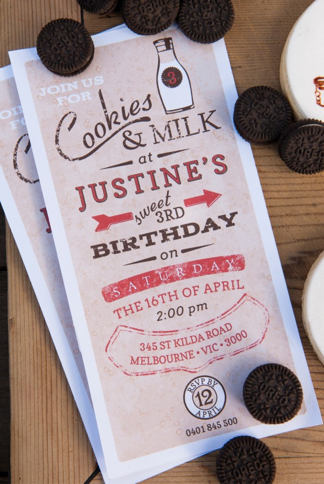 Vintage Milk and Cookies Party Invitation
