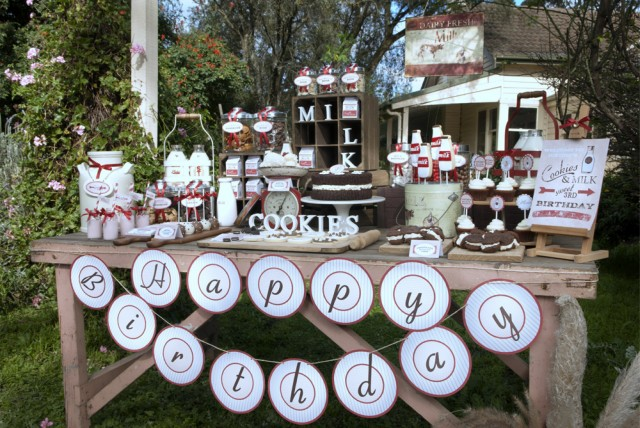 Vintage Milk and Cookies Party Dessert Table