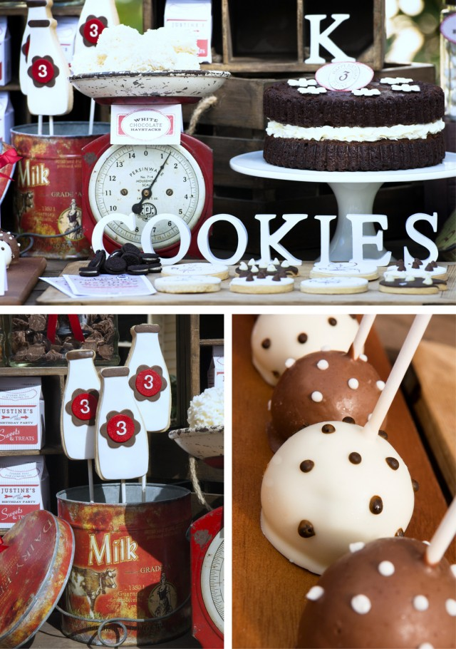Vintage Milk and Cookies Party Decor and Desserts