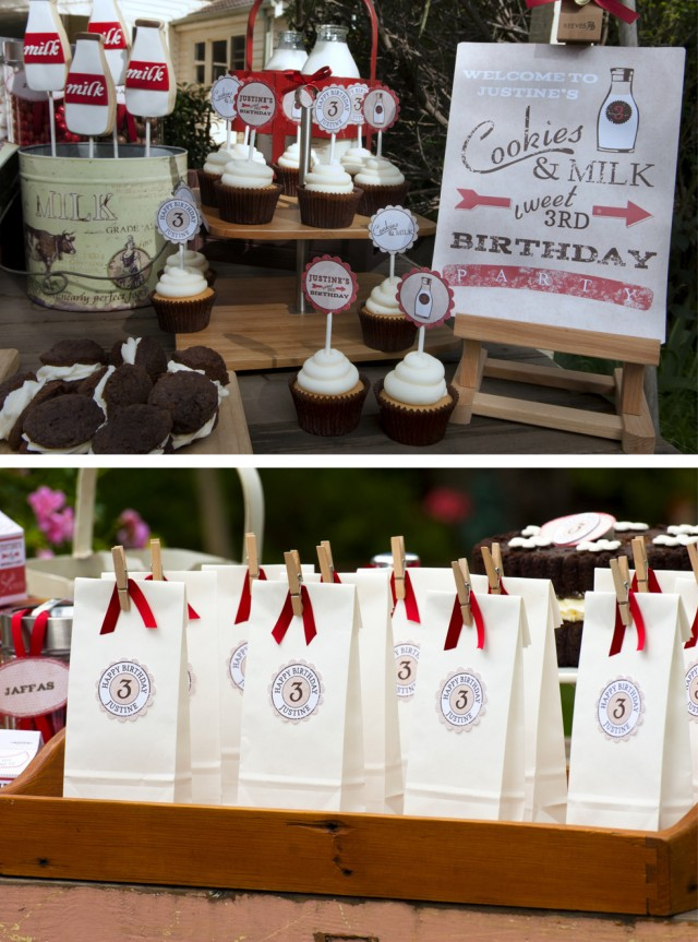 Vintage Milk and Cookies Party Favors
