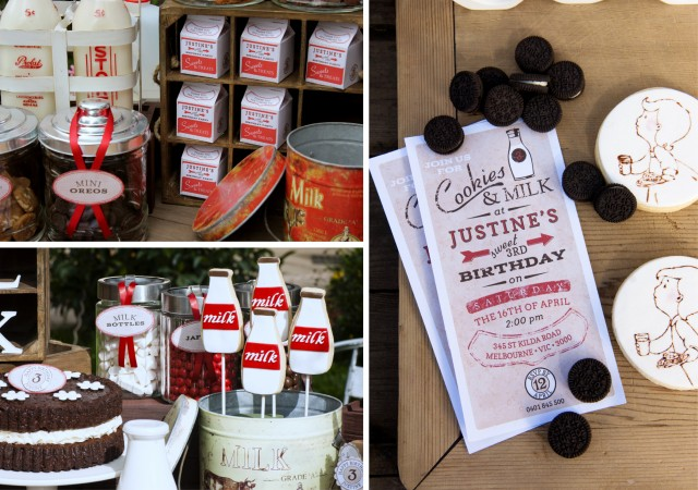 Vintage Milk and Cookies Party Decorations and Invite
