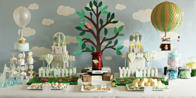 Hot Air Balloon Birthday party Photo Dessert Table