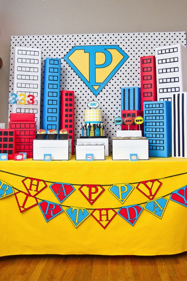 Vintage Super Hero Party Dessert Table