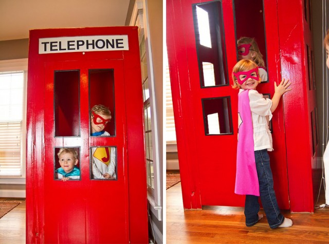 Super hero party activities Telephone Booth