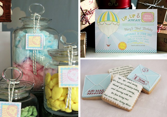 Up Up and Away Hot Air Balloon Invitation and Cookies