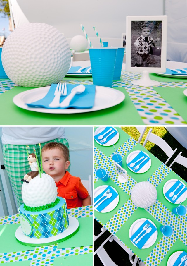 Golf Birthday Party Table Centerpieces and Setting