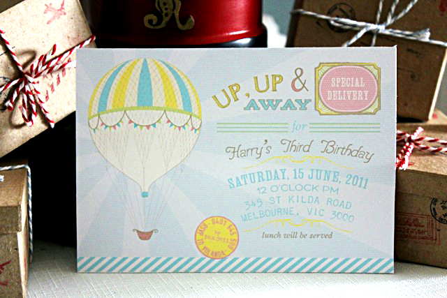 Up Up and Away Hot Air Balloon Invitation
