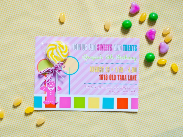candy land inspired birthday party invitation