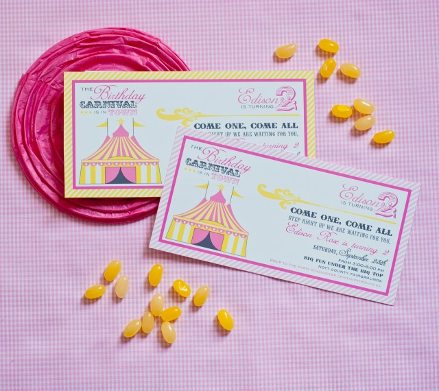 Vintage Carnival Birthday Party Invitation Printables Girlie Pink and Yellow