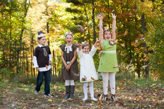 Thanksgiving Kids Party playing outside in leaves