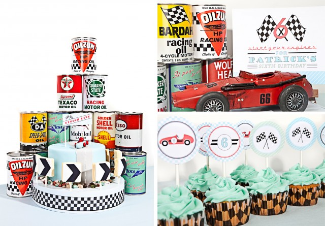 vintage race car cake and cupcakes