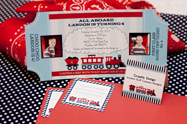 all aboard choo choo train party landon is four  anders ruff, Party invitations
