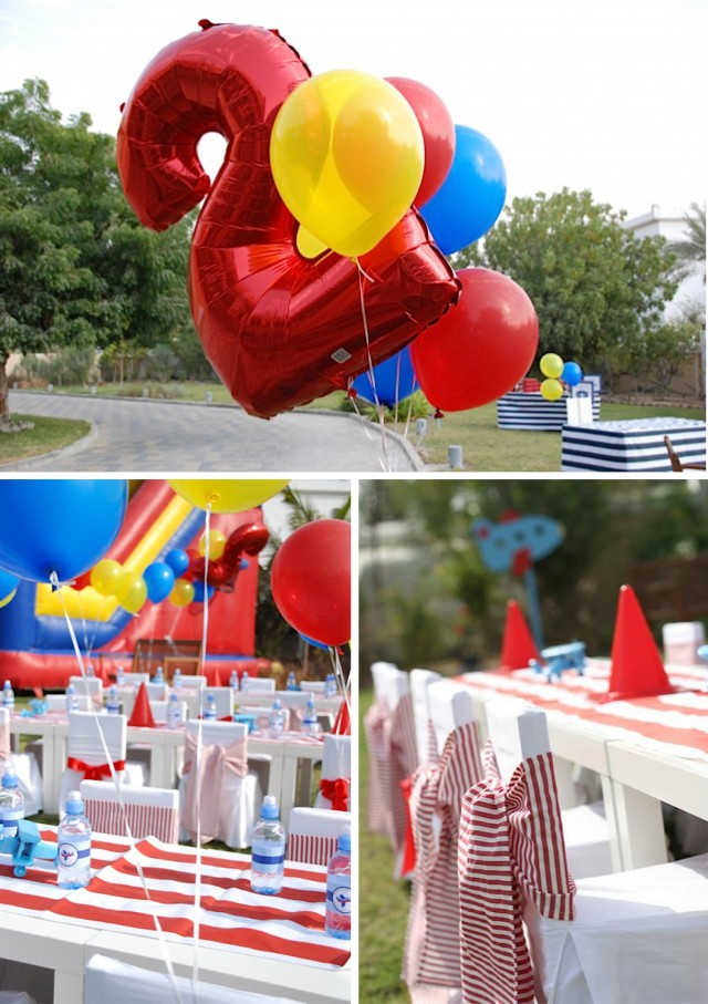 Fly away with this airplane party with video anders for Airplane party decoration