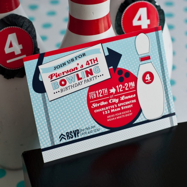 Piersons Retro Bowling Party Anders Ruff Custom Designs LLC – Bowling Party Invite