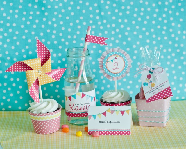pinwheels pennants polka dots party printables-03