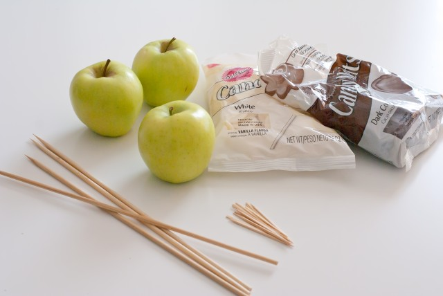 Supplies apples, skewers, melting chocolate, toothpicks