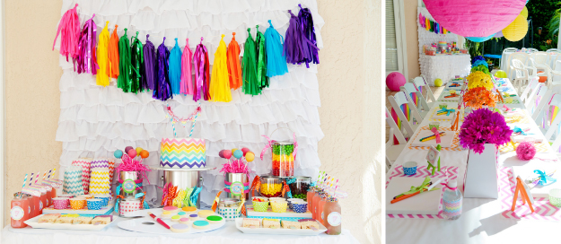 chevron-arts-and-crafts-rainbow-party-ideas
