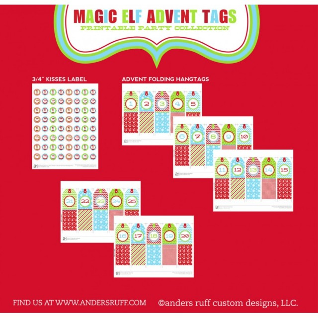 elf on the shelf christmas party printables advent tags-