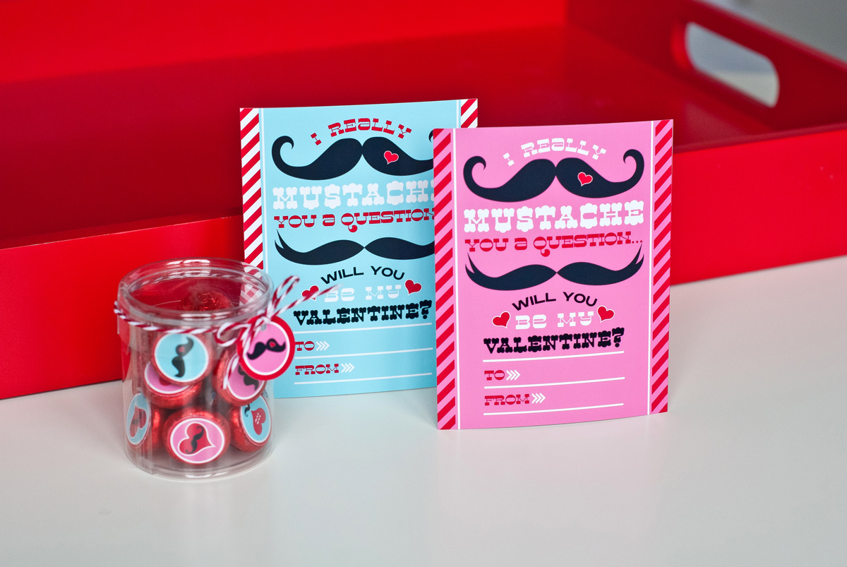 Mustache Valentines Day Party Printables and Cards – Pinterest Valentine Cards