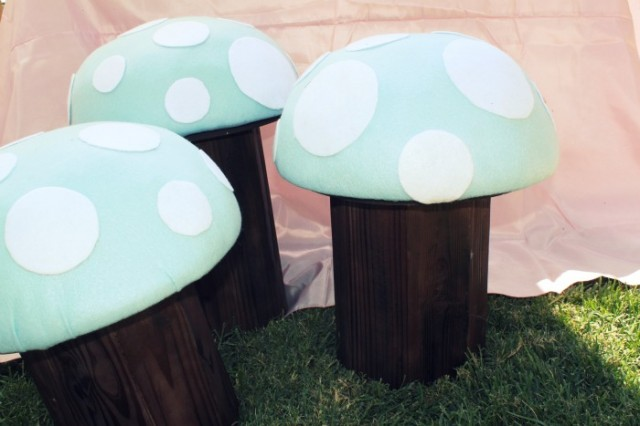 alice in wonderland party toad stool seats