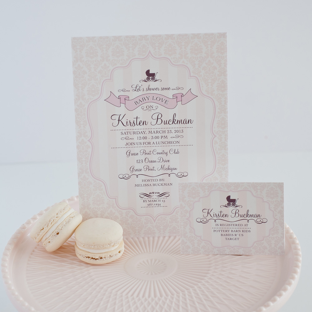 new gorgeous pram baby shower invitation and collection in blush, Baby shower invitations