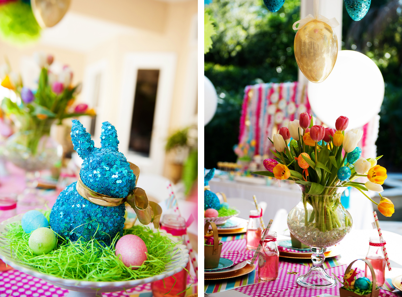 A bright and colorful easter party anders ruff custom designs llc - Easter table decorations meals special ...