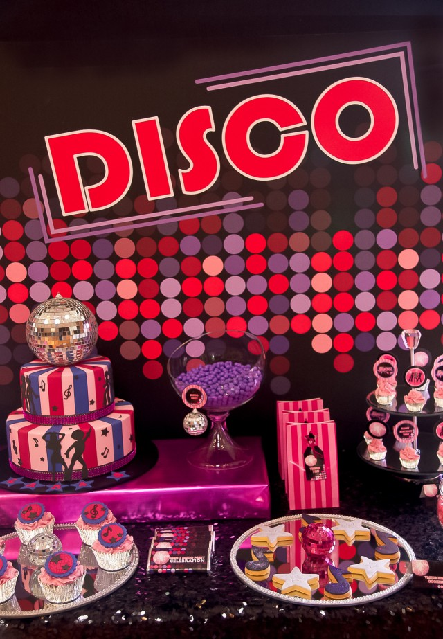 disco birthday party dessert table
