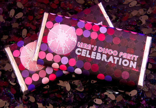 disco birthday party chocolate bars