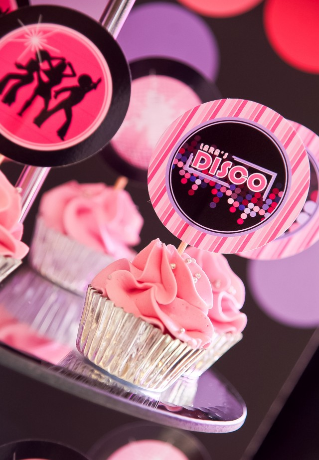 disco teen party cupcake toppers
