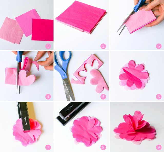 Step by step tutorial for tissue paper flowers