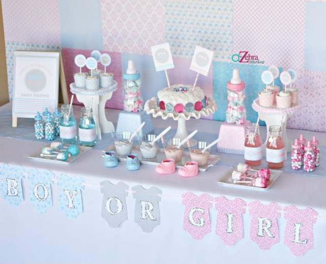 A gender reveal party using chevron stripes and polka for Baby shower decoration twins