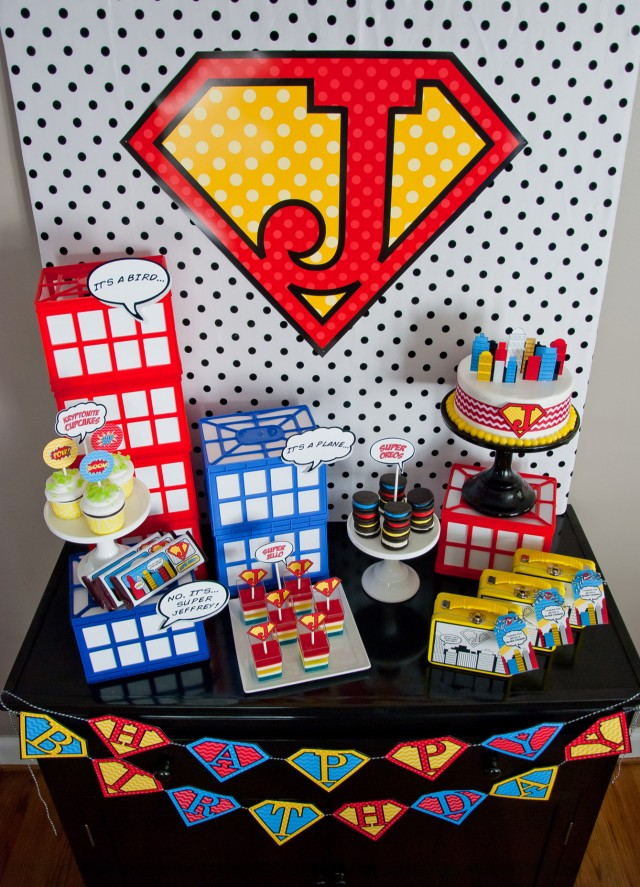 super hero birthday party cake table