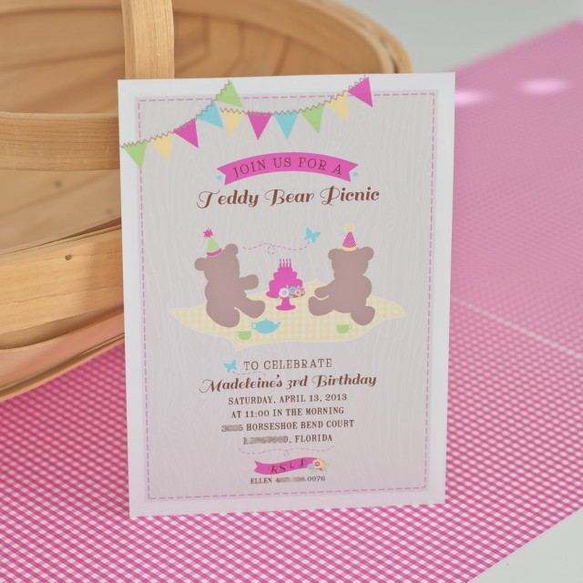 A Girlie Teddy Bear Picnic Party Anders Ruff Custom Designs LLC – Teddy Bears Picnic Party Invitations