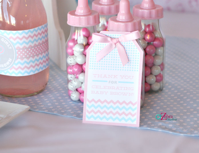 A Gender Reveal Party Using Chevron Stripes And Polka