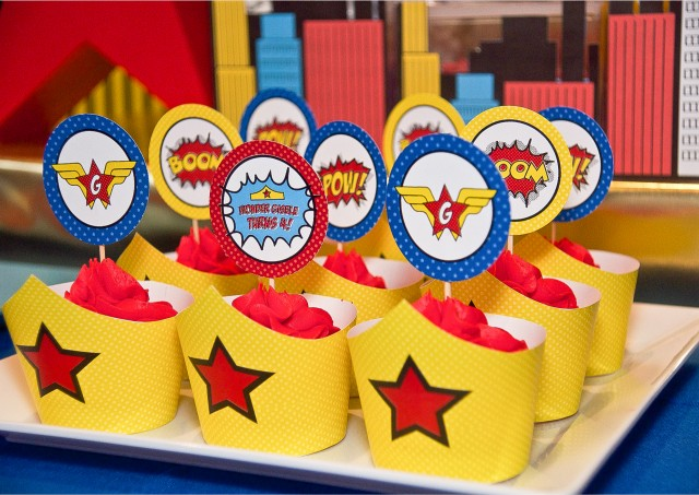 A Comic Style Wonder Woman Super Hero Birthday Party Anders Ruff