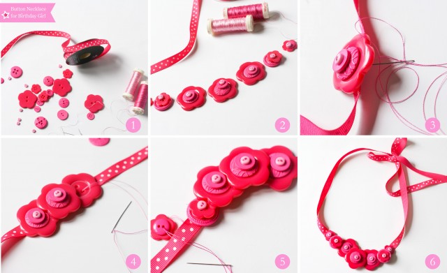DIY button necklace for birthday girl doll party