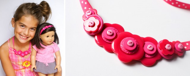 DIY birthday girl doll button necklace and headband