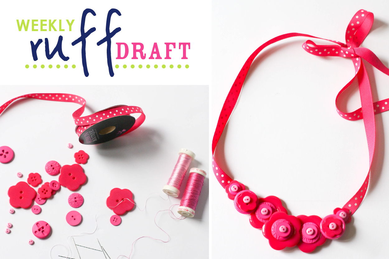 DIY button necklace and headband for birthday girl and doll