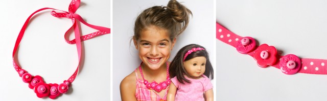 DIY button necklace and headband for birthday girl and american girl doll