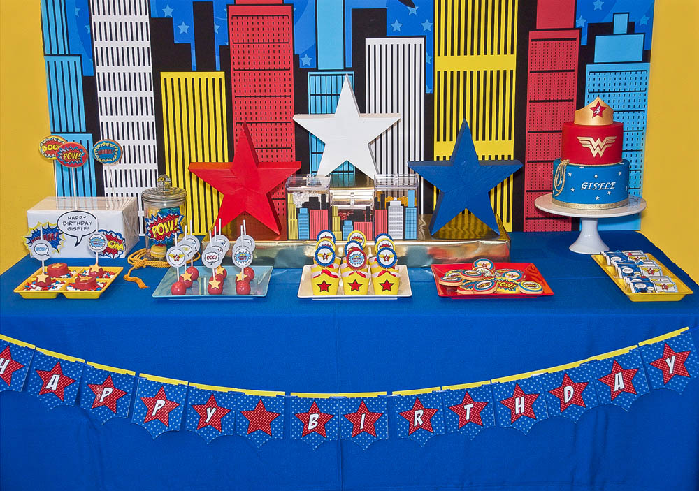 A Comic Style Wonder Woman Super Hero Birthday Party