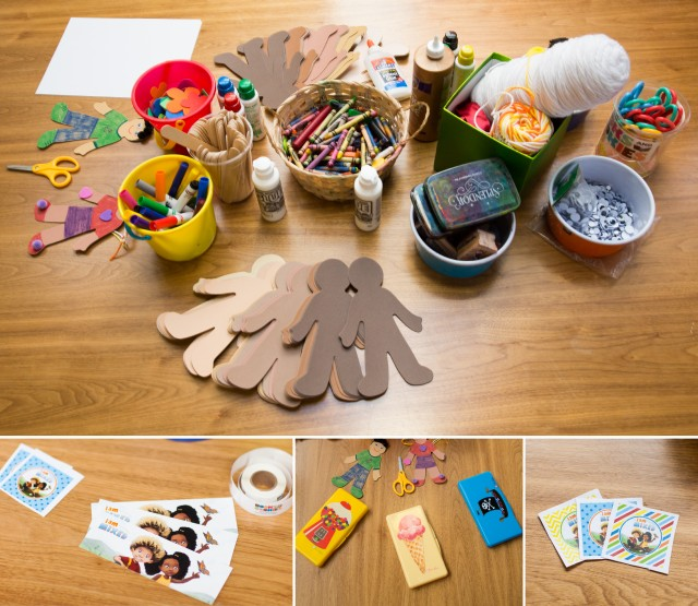 kids craft table for I am Mixed book launch