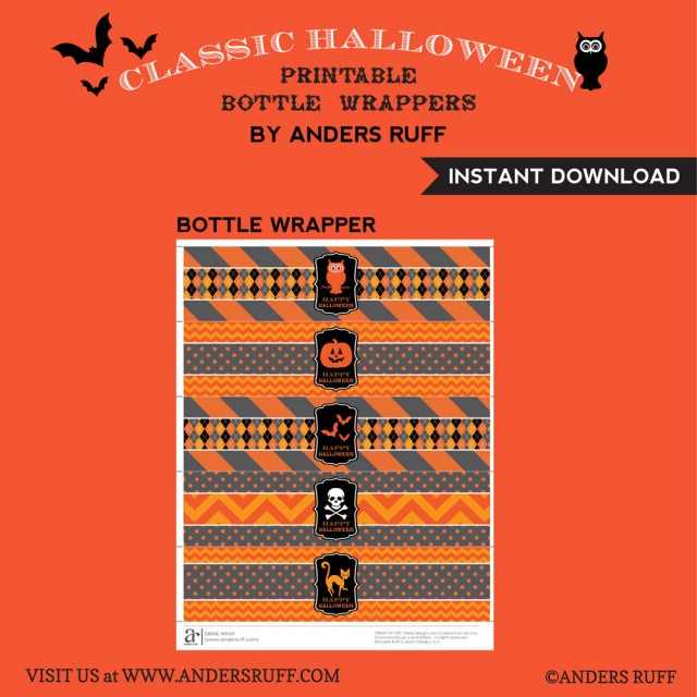 printable halloween drink wraps