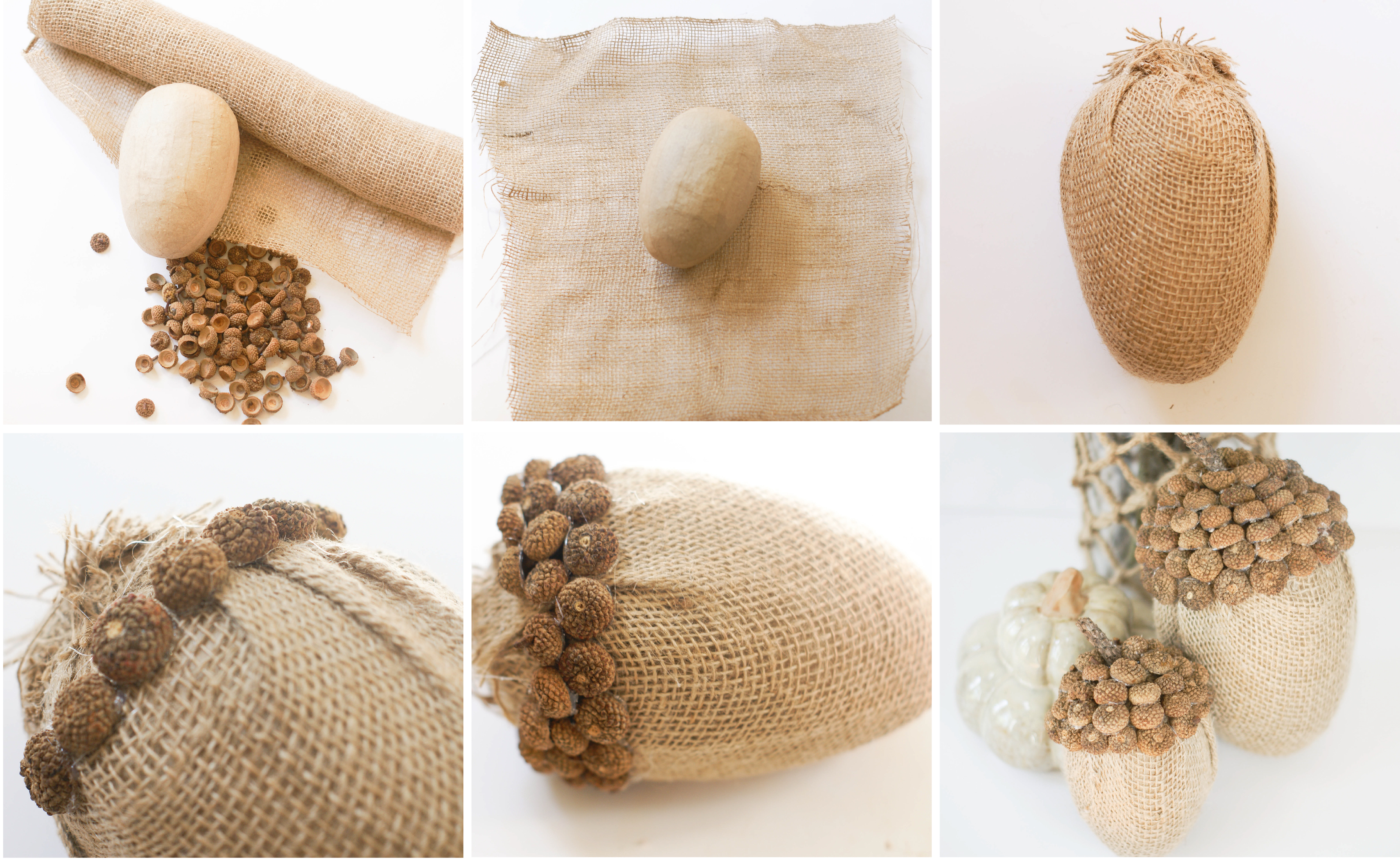 Ruff draft burlap acorns for the fall anders ruff for Acorn decoration
