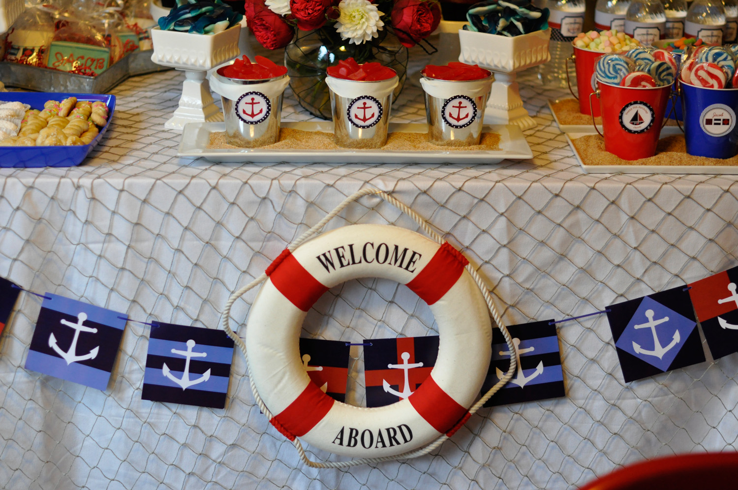 Preppy boy nautical birthday party for Anchor decoration party