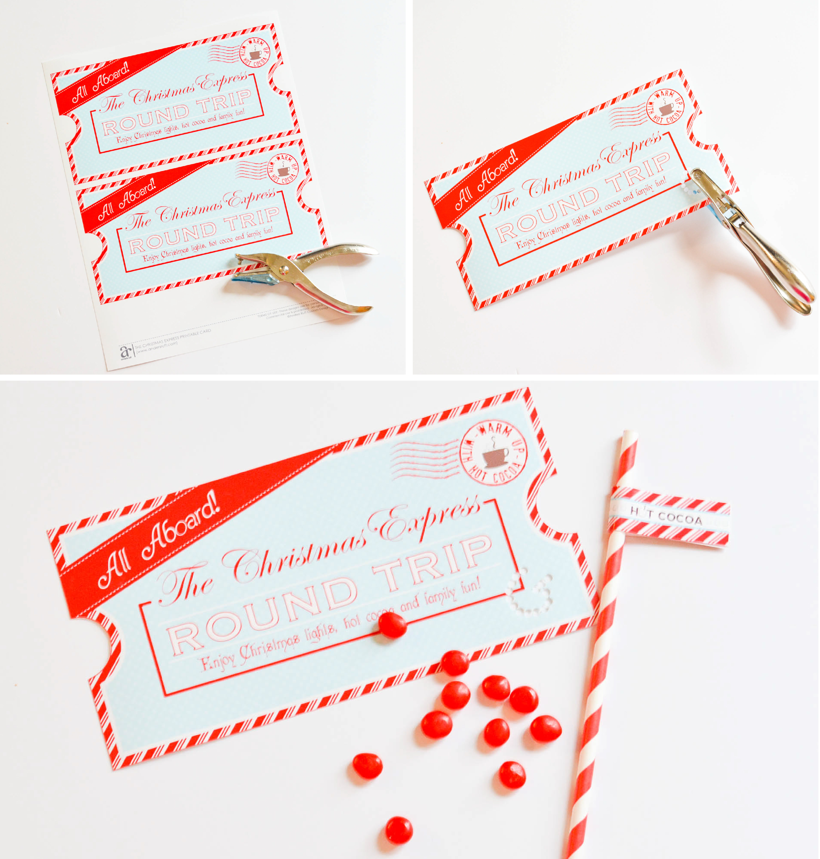 Download And Print The Free Printable Christmas Express Ticket 2. Trim With  Scissors 3. On The Special Night, Cut A Few Holes On The Ticket With A Hole  ...  Printable Ticket Paper