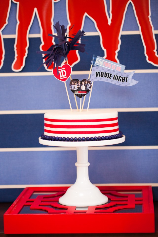 one direction movie party cake