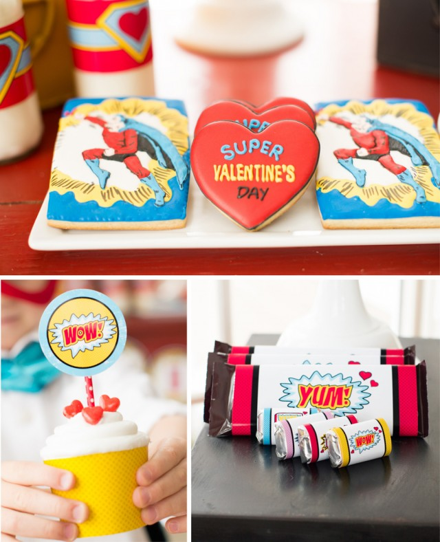 super hero valentine cookies